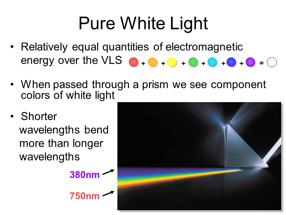 Relatively equal quantities of electromagnetic energy over the VLS When passed through a prism we see component colors of white light Shorter waveleng