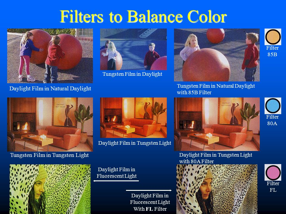 Filters to Balance Color Filter 85B Filter 80A Filter FL Daylight Film in Fluorescent Light Daylight Film in Fluorescent Light With FL Filter Daylight Film in Natural Daylight Tungsten Film in Tungsten Light Tungsten Film in Daylight Daylight Film in Tungsten Light Tungsten Film in Natural Daylight with 85B Filter Daylight Film in Tungsten Light with 80A Filter