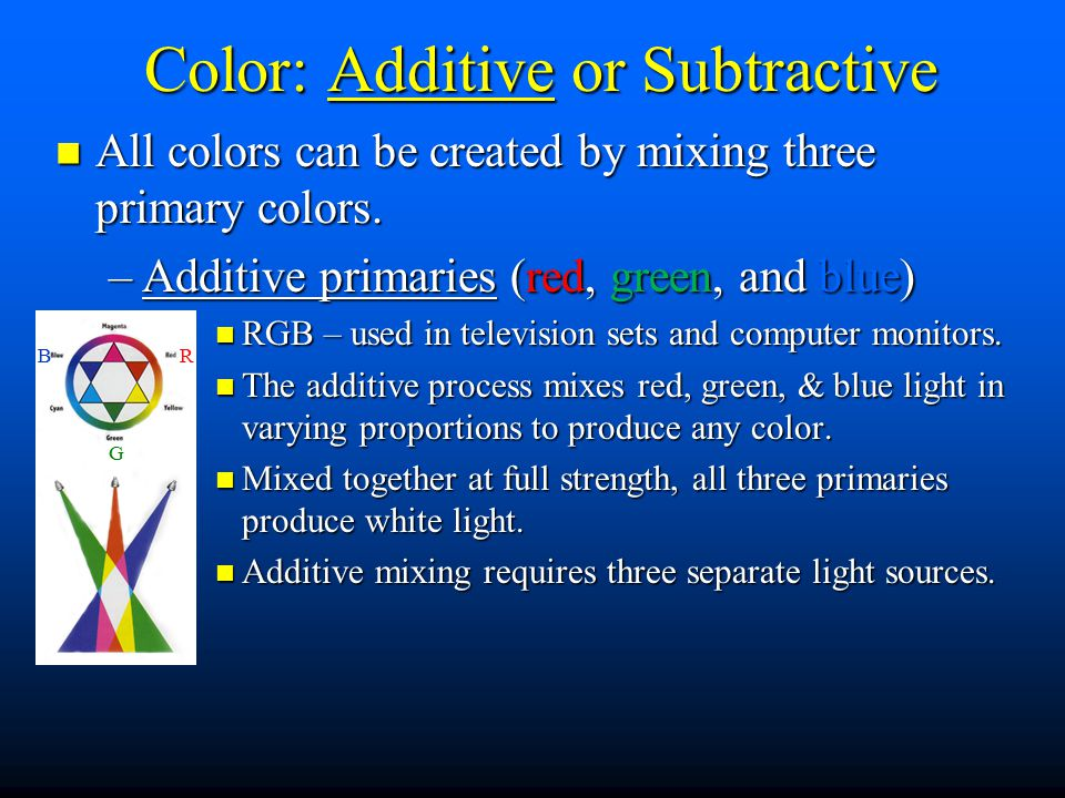 Color: Additive or Subtractive All colors can be created by mixing three primary colors.
