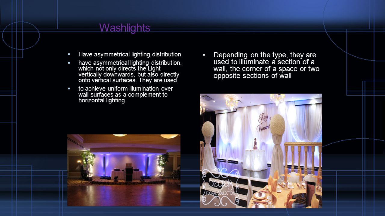Washlights  Have asymmetrical lighting distribution  have asymmetrical lighting distribution, which not only directs the Light vertically downwards, but also directly onto vertical surfaces.