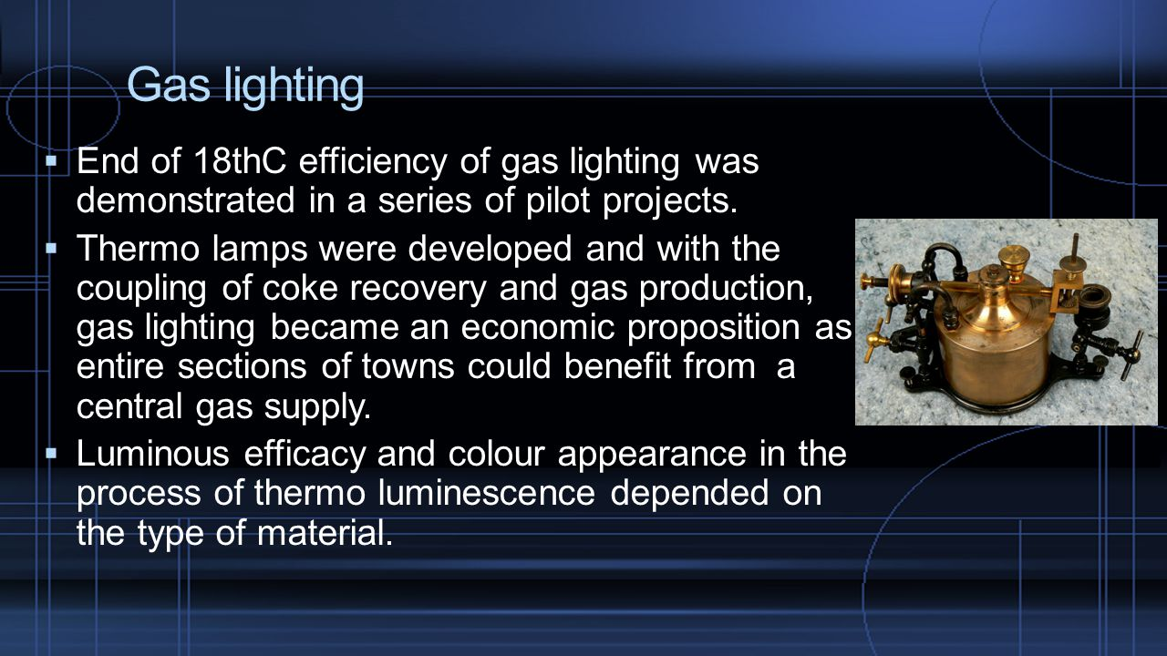 Gas lighting  End of 18thC efficiency of gas lighting was demonstrated in a series of pilot projects.