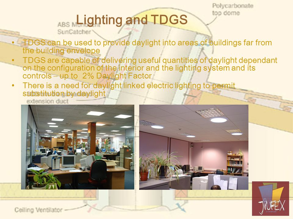 Lighting and TDGS TDGS can be used to provide daylight into areas of buildings far from the building envelope TDGS are capable of delivering useful quantities of daylight dependant on the configuration of the interior and the lighting system and its controls – up to 2% Daylight Factor There is a need for daylight linked electric lighting to permit substitution by daylight