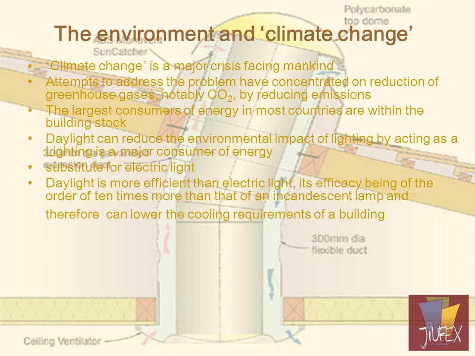 The environment and 'climate change' ' Climate change ' is a major crisis facing mankind Attempts to address the problem have concentrated on reduction of greenhouse gases, notably CO 2, by reducing emissions The largest consumers of energy in most countries are within the building stock Daylight can reduce the environmental impact of lighting by acting as a Lighting is a major consumer of energy substitute for electric light Daylight is more efficient than electric light, its efficacy being of the order of ten times more than that of an incandescent lamp and therefore can lower the cooling requirements of a building