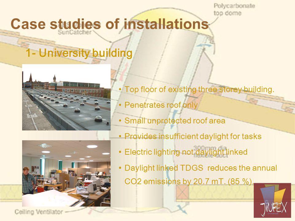 Case studies of installations 1- University building Top floor of existing three storey building.