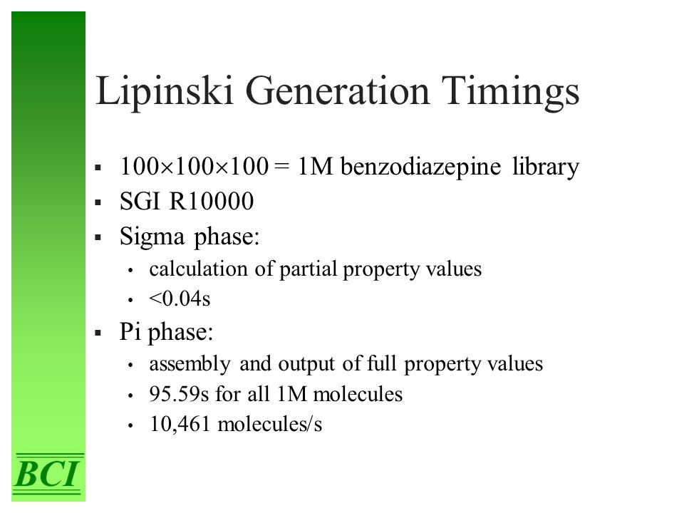 Lipinski Generation Timings  100  100  100 = 1M benzodiazepine library  SGI R10000  Sigma phase: calculation of partial property values <0.04s 