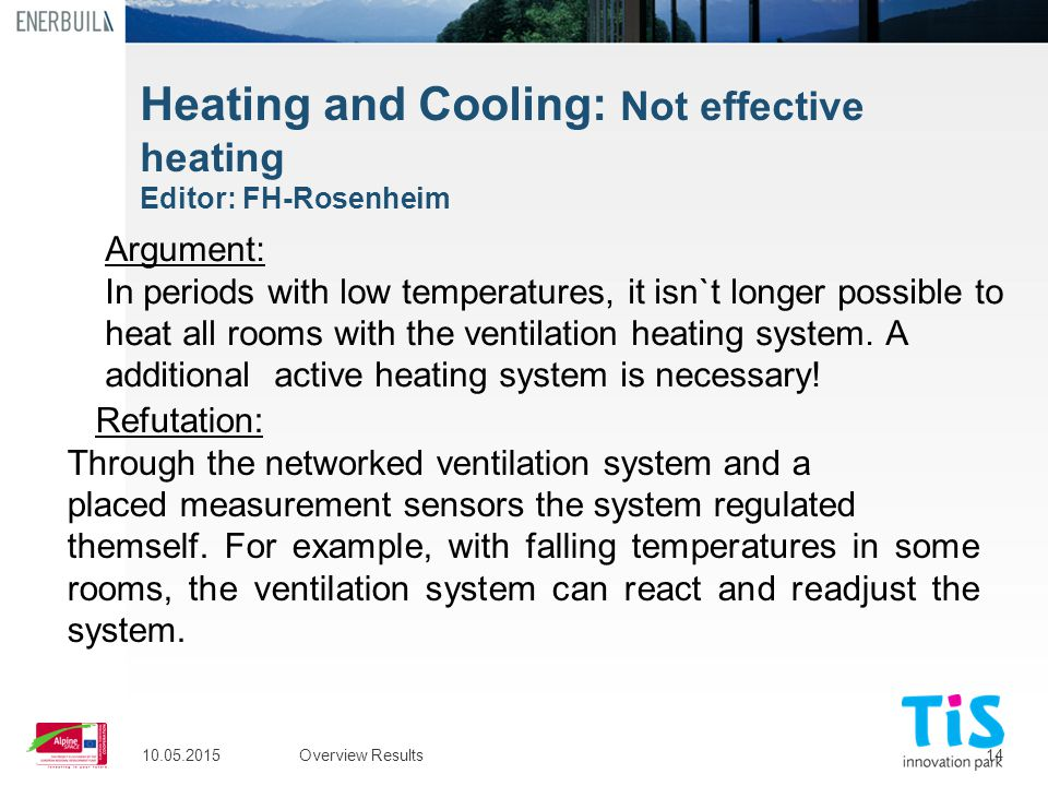 14 Heating and Cooling: Not effective heating Editor: FH-Rosenheim 10.05.2015Overview Results Argument: In periods with low temperatures, it isn`t lon