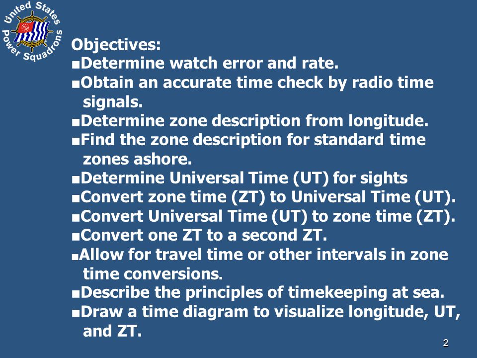 21 Objectives: ■ Determine watch error and rate.