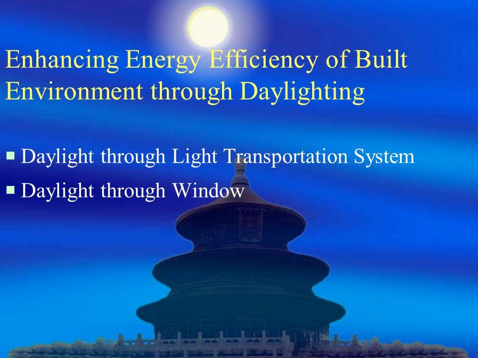Enhancing Energy Efficiency of Built Environment through Daylighting  Daylight through Light Transportation System  Daylight through Window