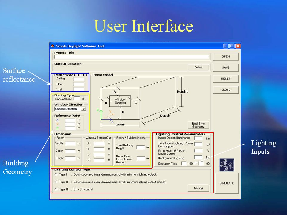 User Interface Lighting Inputs Building Geometry Surface reflectance