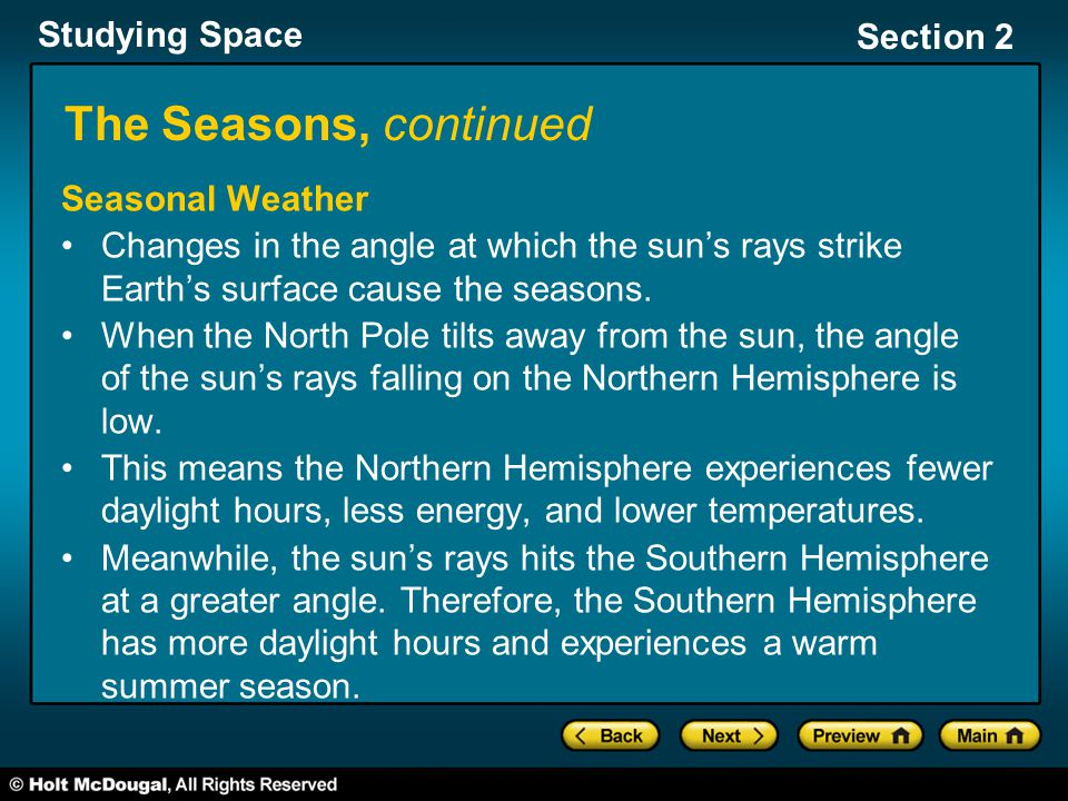Studying Space Section 2 The Seasons, continued Seasonal Weather Changes in the angle at which the sun's rays strike Earth's surface cause the seasons