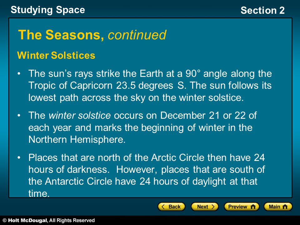 Studying Space Section 2 The Seasons, continued Winter Solstices The sun's rays strike the Earth at a 90° angle along the Tropic of Capricorn 23.5 deg