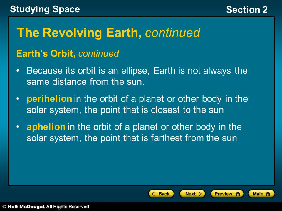 Studying Space Section 2 The Revolving Earth, continued The diagram below shows the Earth's orbit.