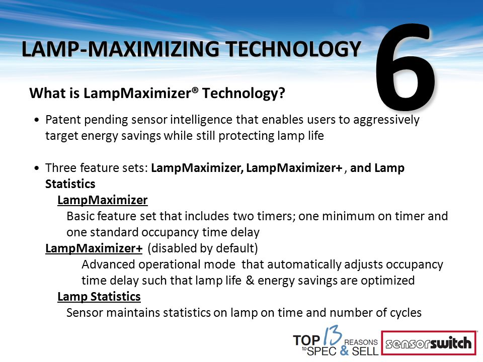 What is LampMaximizer® Technology? Patent pending sensor intelligence that enables users to aggressively target energy savings while still protecting