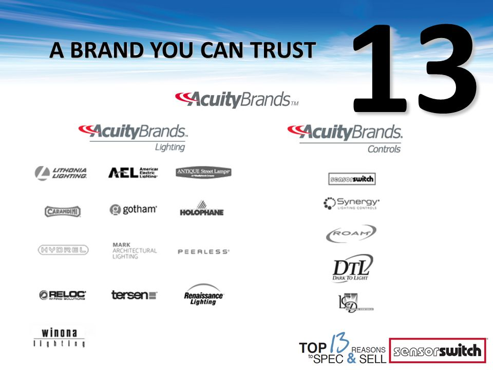 13 A BRAND YOU CAN TRUST