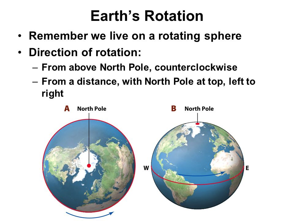 Effects of Earth's Rotation 3 main effects: –Axis and equator basis of geographic grid –A day is a convenient measure of time passing –Diurnal, or daily, rhythm in daylight, air temp, etc.
