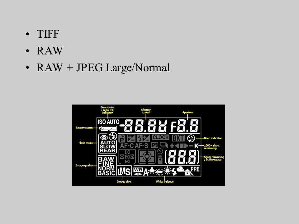 TIFF RAW RAW + JPEG Large/Normal