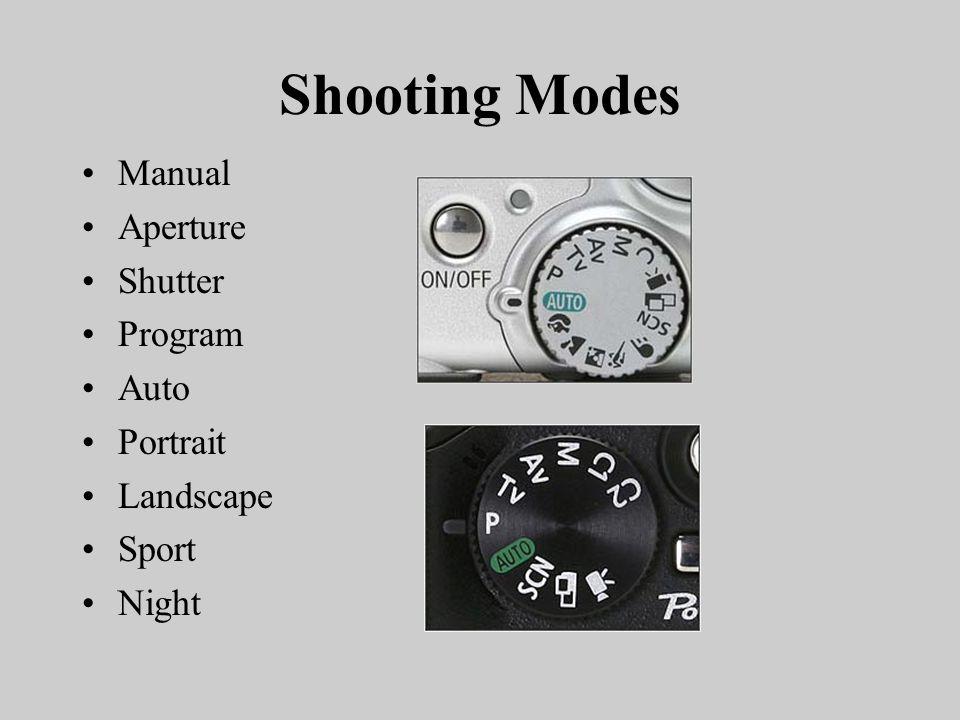 Shooting Modes Manual Aperture Shutter Program Auto Portrait Landscape Sport Night