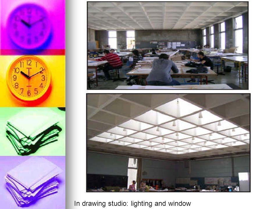 In drawing studio: lighting and window