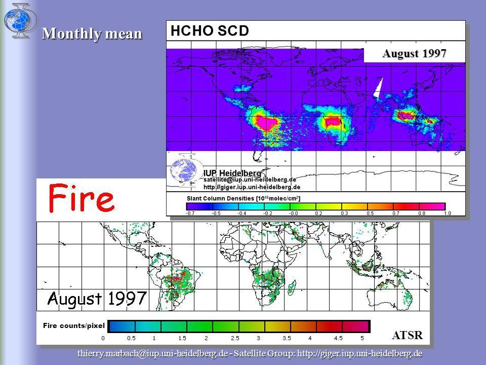 thierry.marbach@iup.uni-heidelberg.de - Satellite Group: http://giger.iup.uni-heidelberg.de ATSR Monthly mean Fire counts/pixel August 1997
