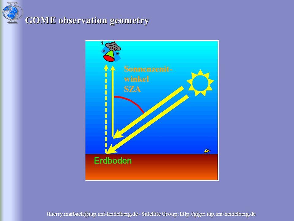GOME observation geometry thierry.marbach@iup.uni-heidelberg.de - Satellite Group: http://giger.iup.uni-heidelberg.de