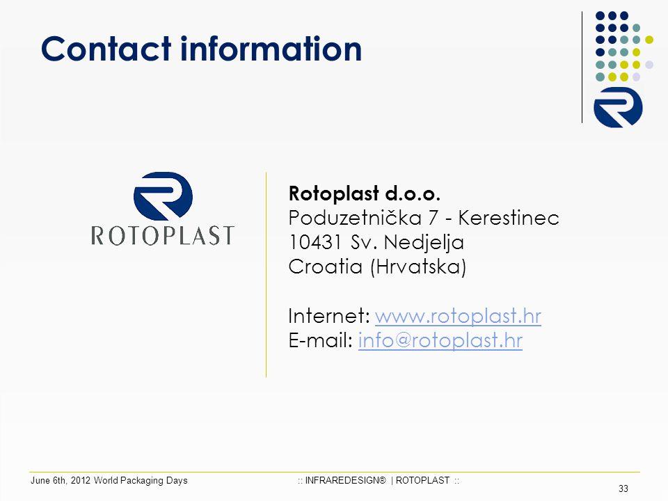 Contact information Rotoplast d.o.o. Poduzetnička 7 - Kerestinec 10431 Sv.