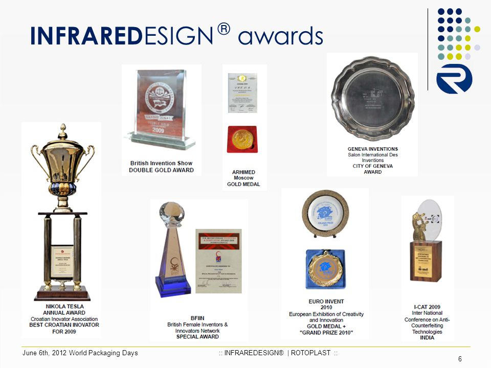 INFRARED ESIGN ® awards 6 June 6th, 2012 World Packaging Days:: INFRAREDESIGN® | ROTOPLAST ::