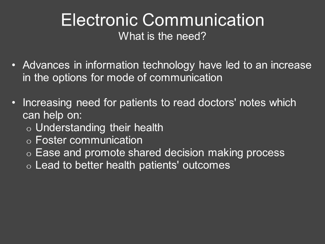 Electronic Communication What is the need.