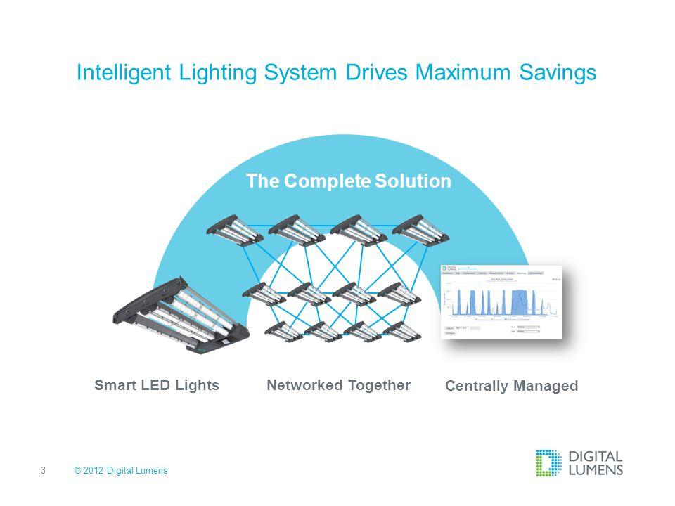 4 Efficiency Most energy efficient High performance occupancy sensing & dimming Daylight harvesting © 2012 Digital Lumens