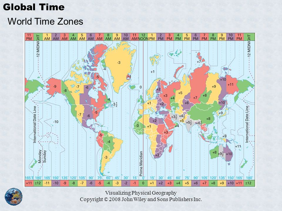 Visualizing Physical Geography Copyright © 2008 John Wiley and Sons Publishers Inc. Global Time World Time Zones
