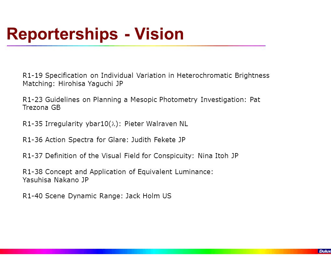 Reporterships - Vision R1-19 Specification on Individual Variation in Heterochromatic Brightness Matching: Hirohisa Yaguchi JP R1-23 Guidelines on Planning a Mesopic Photometry Investigation: Pat Trezona GB R1-35 Irregularity ybar10(): Pieter Walraven NL R1-36 Action Spectra for Glare: Judith Fekete JP R1-37 Definition of the Visual Field for Conspicuity: Nina Itoh JP R1-38 Concept and Application of Equivalent Luminance: Yasuhisa Nakano JP R1-40 Scene Dynamic Range: Jack Holm US