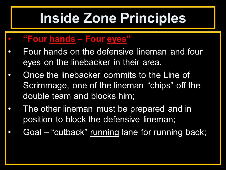 Inside Zone Principles Four hands – Four eyes Four hands on the defensive lineman and four eyes on the linebacker in their area.