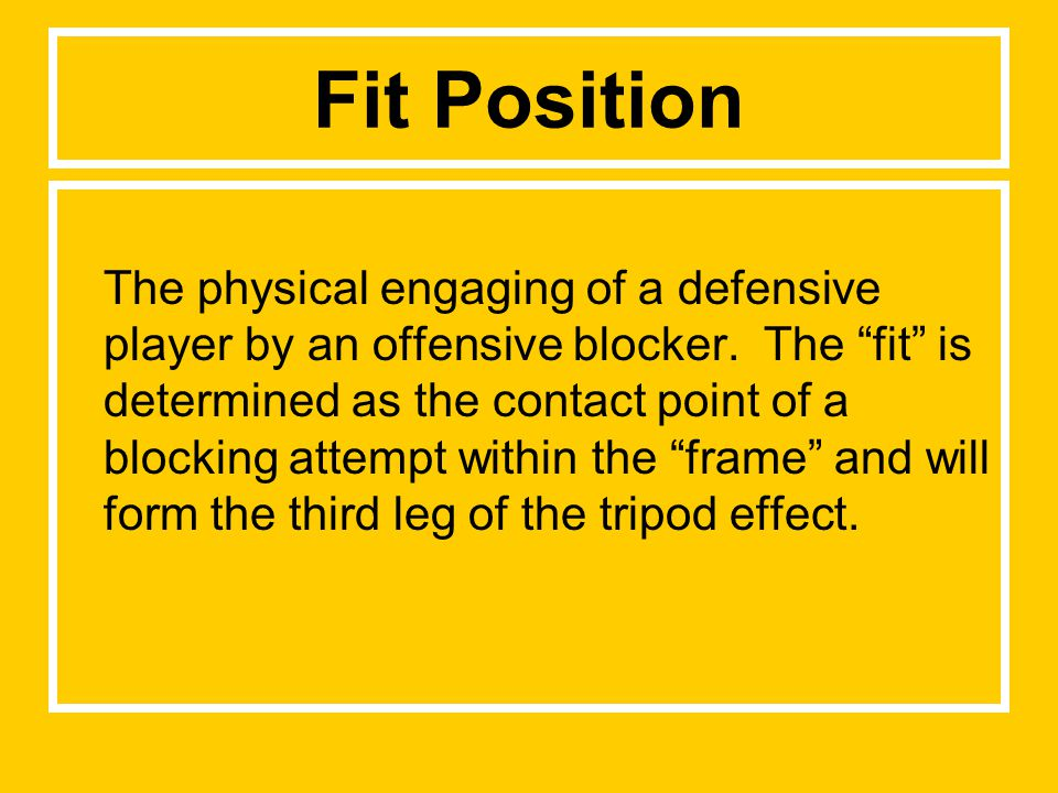 Fit Position The physical engaging of a defensive player by an offensive blocker.