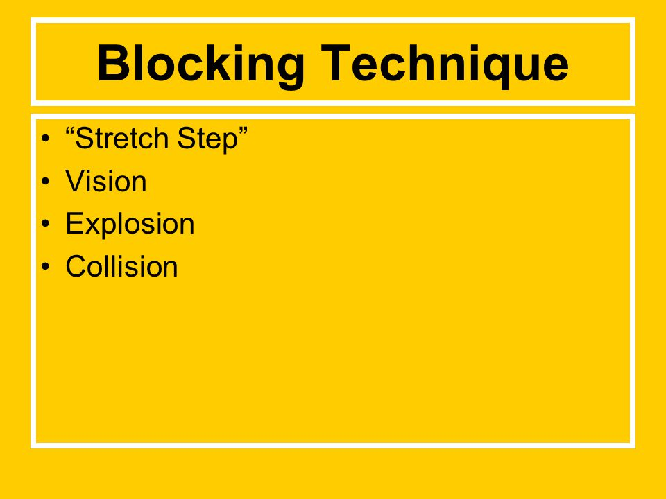 Blocking Technique Stretch Step Vision Explosion Collision