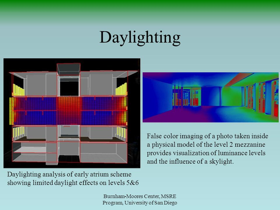 Daylighting Burnham-Moores Center, MSRE Program, University of San Diego Daylighting analysis of early atrium scheme showing limited daylight effects on levels 5&6 False color imaging of a photo taken inside a physical model of the level 2 mezzanine provides visualization of luminance levels and the influence of a skylight.