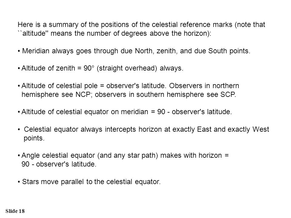 Slide 18 Here is a summary of the positions of the celestial reference marks (note that ``altitude'' means the number of degrees above the horizon): M