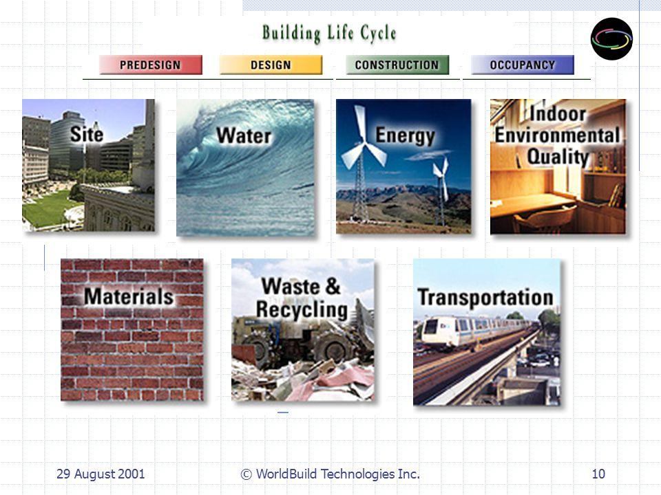 29 August 2001© WorldBuild Technologies Inc.10