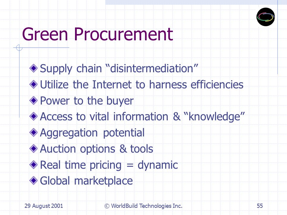29 August 2001© WorldBuild Technologies Inc.55 Green Procurement Supply chain disintermediation Utilize the Internet to harness efficiencies Power to the buyer Access to vital information & knowledge Aggregation potential Auction options & tools Real time pricing = dynamic Global marketplace