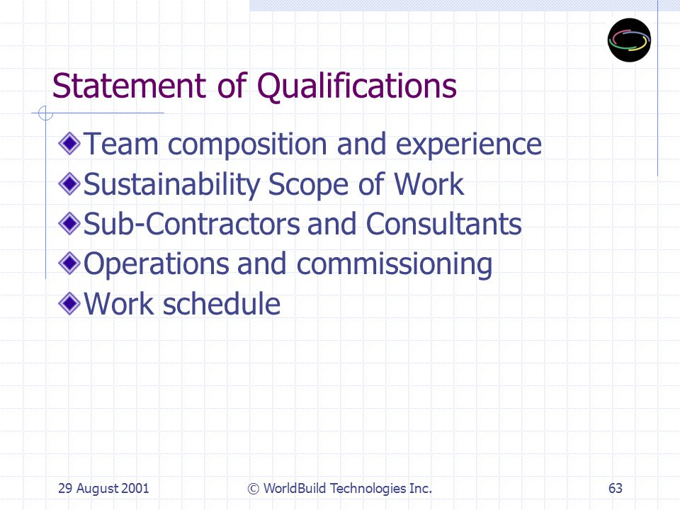 29 August 2001© WorldBuild Technologies Inc.63 Statement of Qualifications Team composition and experience Sustainability Scope of Work Sub-Contractors and Consultants Operations and commissioning Work schedule