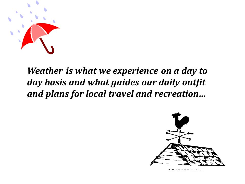 Weather is what we experience on a day to day basis and what guides our daily outfit and plans for local travel and recreation…