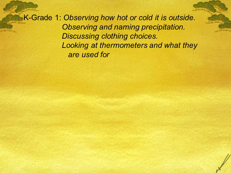 K-Grade 1: Observing how hot or cold it is outside.
