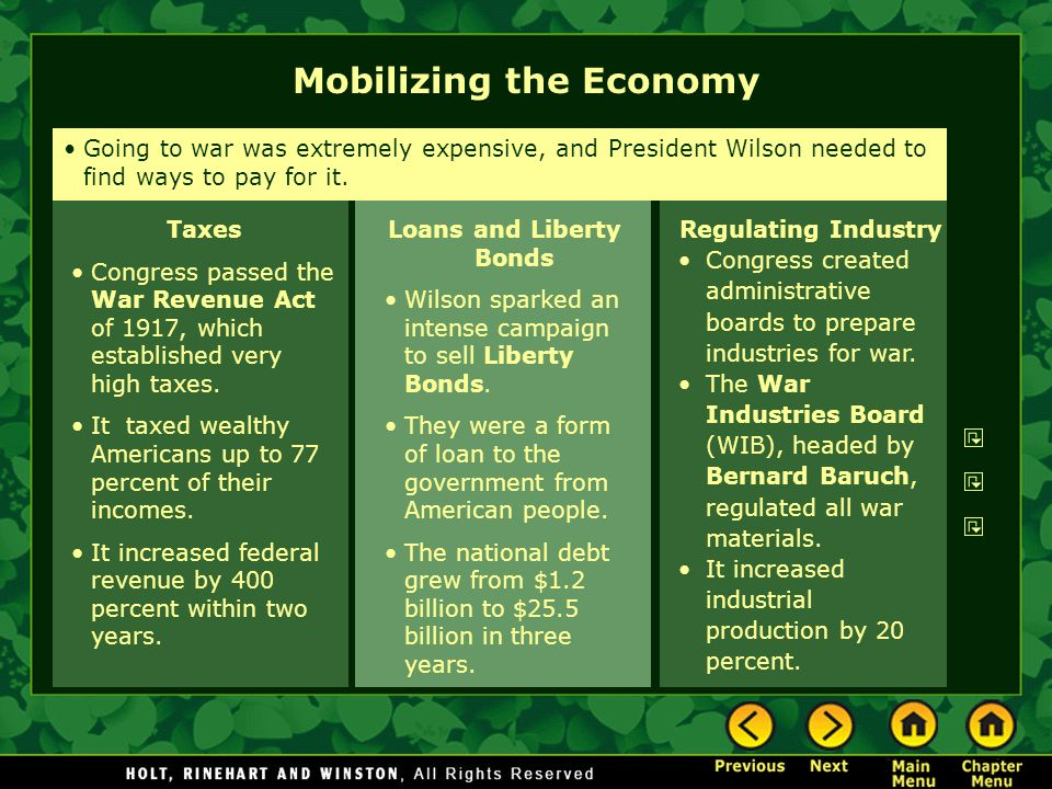 Loans and Liberty Bonds Wilson sparked an intense campaign to sell Liberty Bonds. They were a form of loan to the government from American people. The