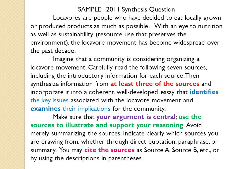 Synthesis Essay See Chapterin The Language Of Composition For  Samplesynthesis Question Locavores Are People Who Have