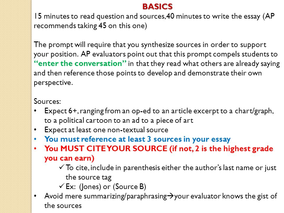 Synthesis Essay See Chapterin The Language Of Composition For Basicsminutes  To Question And Sources Minutes To
