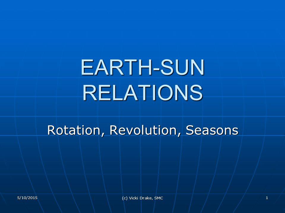 5/10/2015 (c) Vicki Drake, SMC 1 EARTH-SUN RELATIONS Rotation, Revolution, Seasons