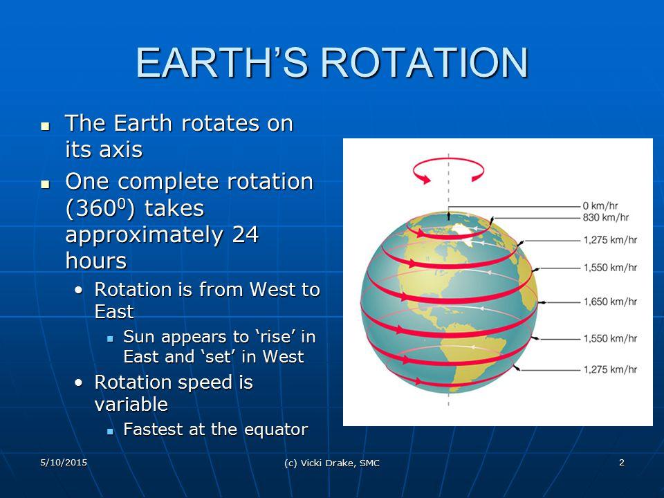 5/10/2015 (c) Vicki Drake, SMC 2 EARTH'S ROTATION The Earth rotates on its axis The Earth rotates on its axis One complete rotation (360 0 ) takes app