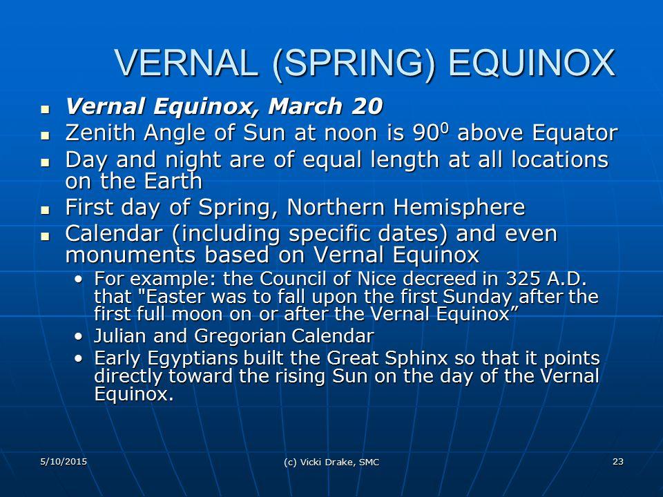 5/10/2015 (c) Vicki Drake, SMC 23 VERNAL (SPRING) EQUINOX Vernal Equinox, March 20 Vernal Equinox, March 20 Zenith Angle of Sun at noon is 90 0 above