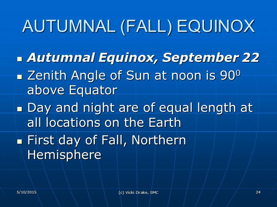 5/10/2015 (c) Vicki Drake, SMC 24 AUTUMNAL (FALL) EQUINOX Autumnal Equinox, September 22 Autumnal Equinox, September 22 Zenith Angle of Sun at noon is