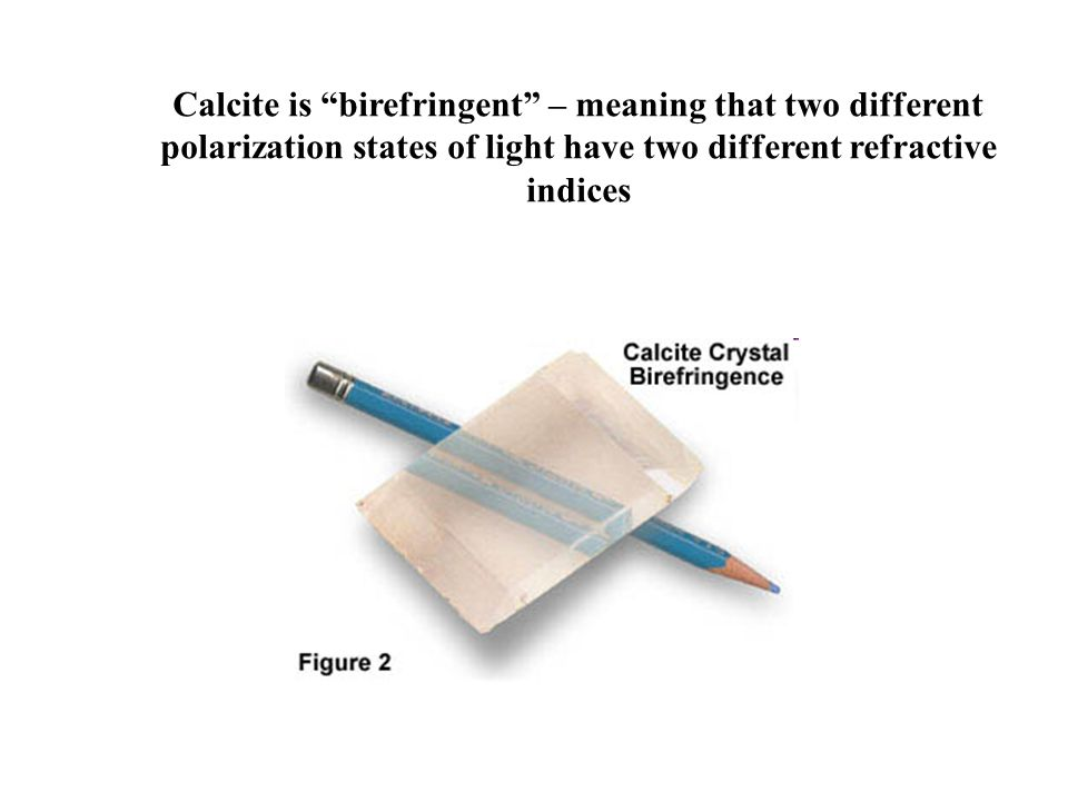 """Calcite is """"birefringent"""" – meaning that two different polarization states of light have two different refractive indices"""