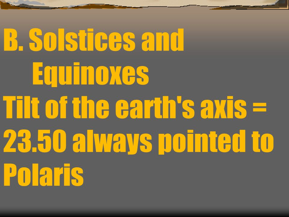 B. Solstices and Equinoxes Tilt of the earth s axis = 23.50 always pointed to Polaris