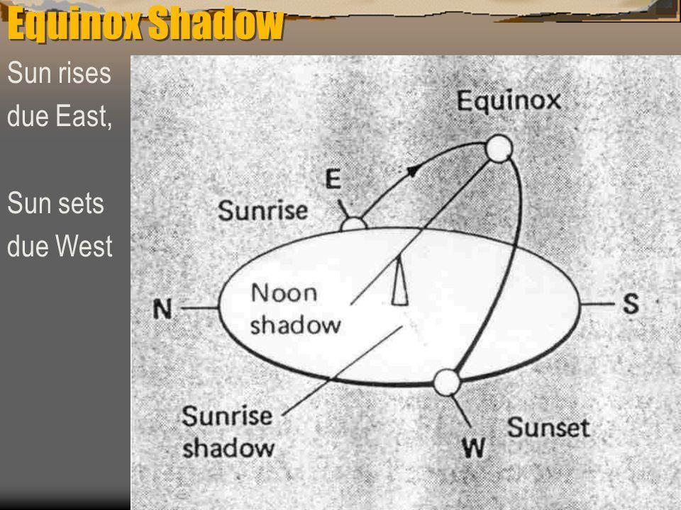 Equinox Shadow Sun rises due East, Sun sets due West